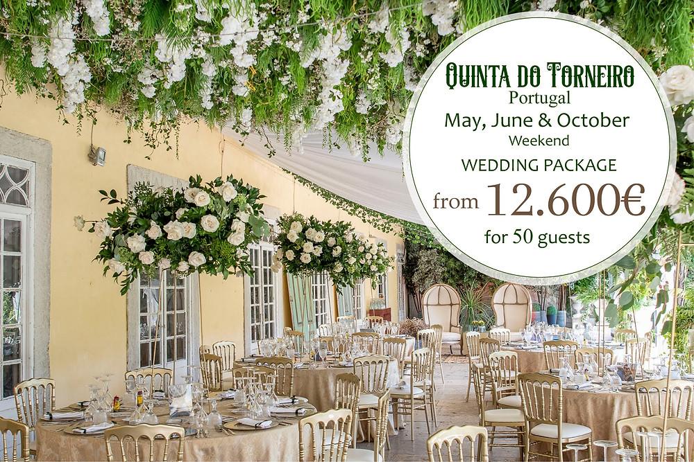 Um pacote para jantar e festa de casamento com decoração no terraço coberto da Quinta do Torneiro