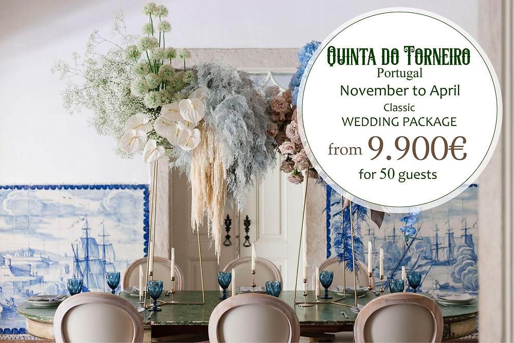 Um pacote de casamento na Quinta do Torneiro decorado com os mais bonitos azulejos portugueses