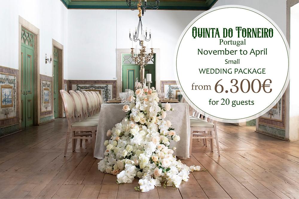 O pacote de casamento de epoca baixa de novembro a abril na Quinta do Torneiro Lisboa