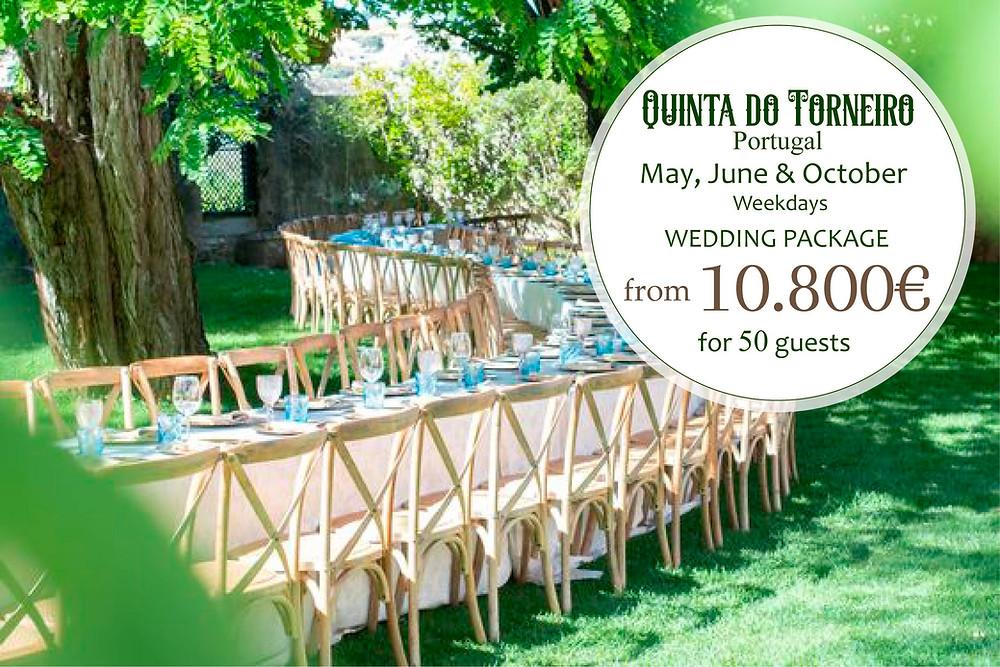 Pacote de casamento com descrição de serviços na Quinta do Torneiro para meses de Maio Junho e Outubro