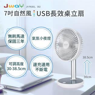 七吋自然風USB長效桌立扇(白色)