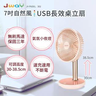 七吋自然風USB長效桌立扇(粉色)