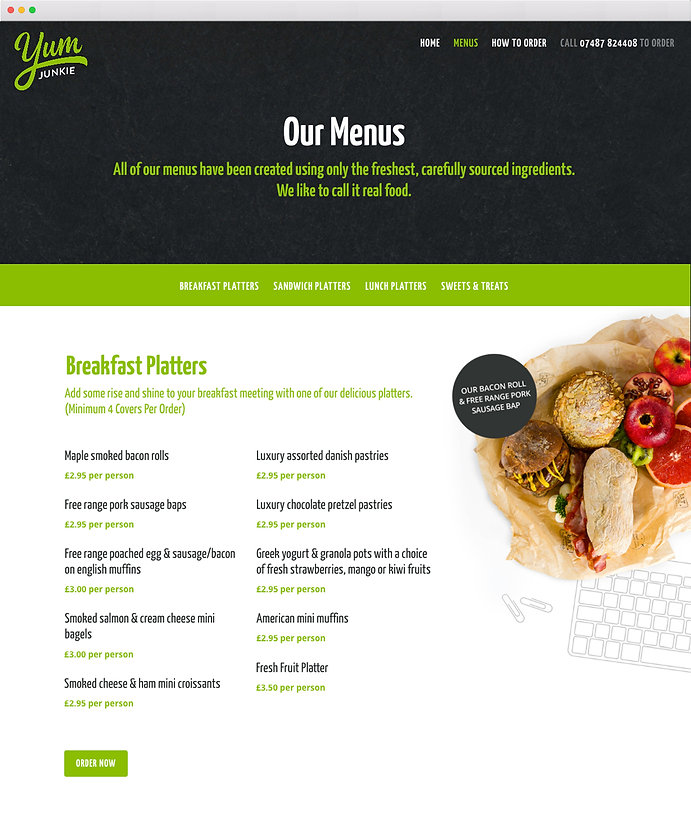 Yum Junkie, Catering website, Copywriter, food writer, freelance, oxfordshire, remote working