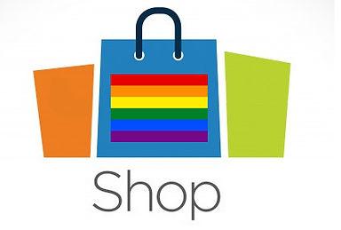 Queere Shop mit Flaggen, Buttons, Aufklebern