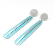 Extra long aluminium and silver earrings