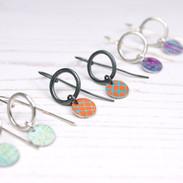 Silver or oxidsed silver aluminium drop earrings
