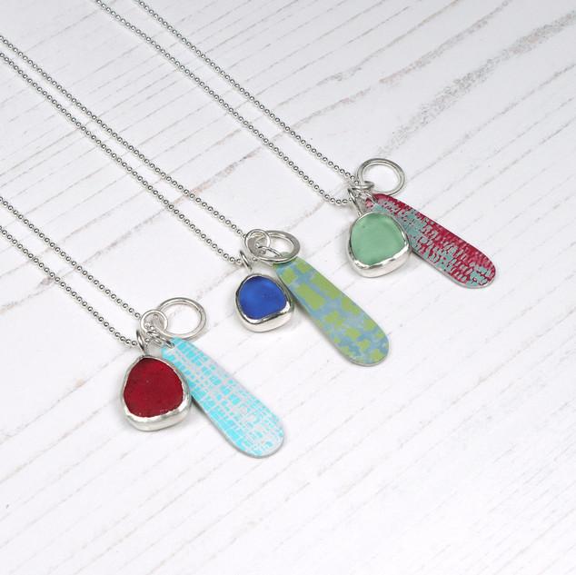 Sea glass and aluminium cluster pendant