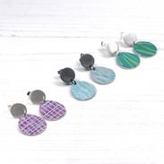 Silver and anodised aluminium drop earrings