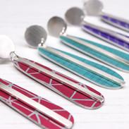 Medium aluminium and silver bar drop earrings