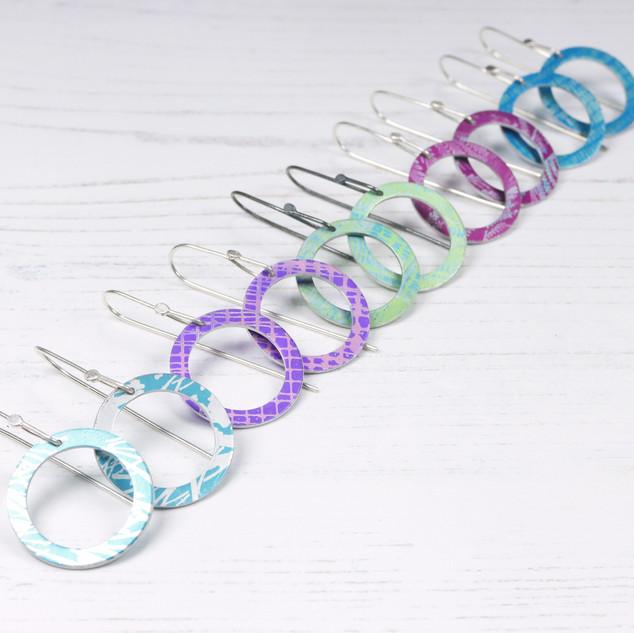Aluminium hoop earrings with silver earring wires