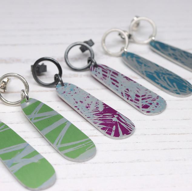 Small long oval drop aluminium and silver drop earrings