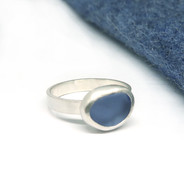 Violet sea glass ring