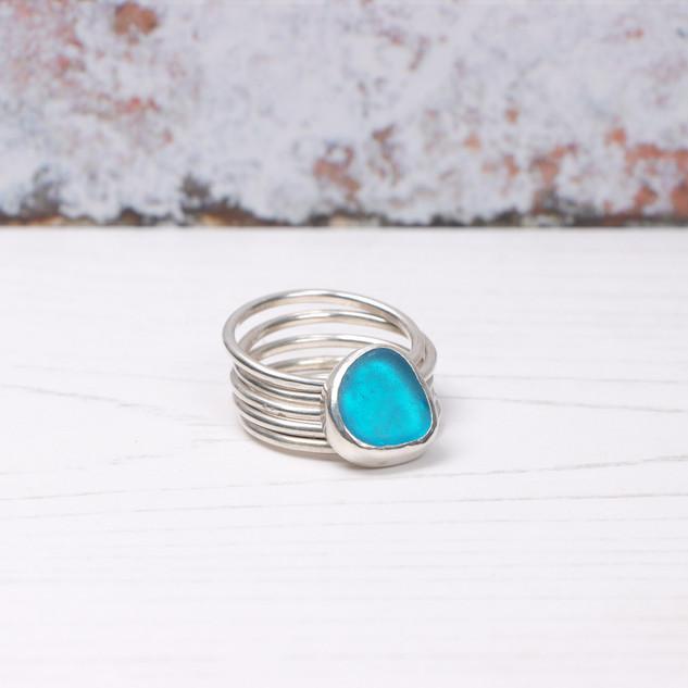 Aqua blue sea glass 5 movement silver ring
