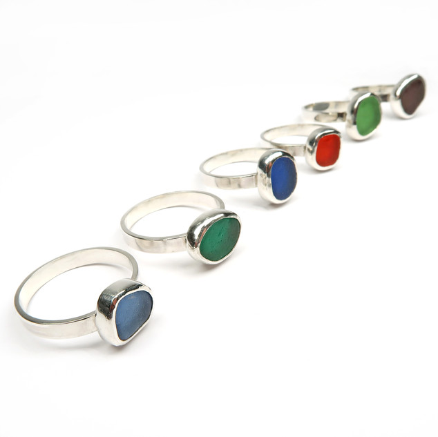 Sea glass cabochon rings