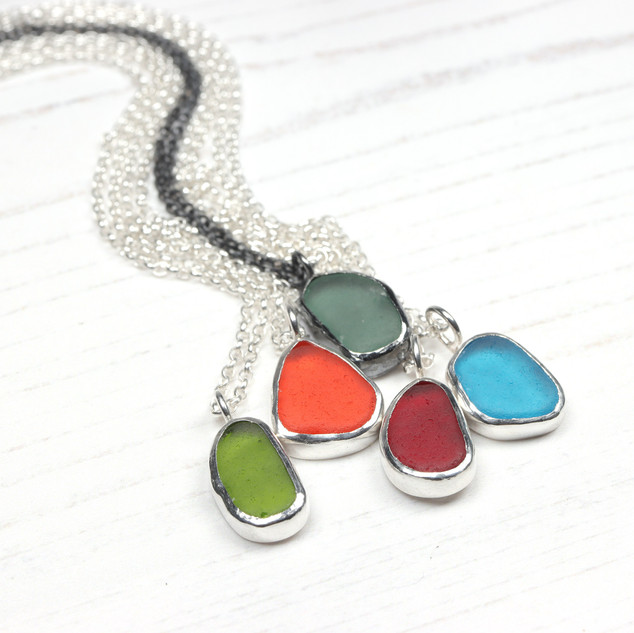 Sea glass and silver pendant, choose your colour