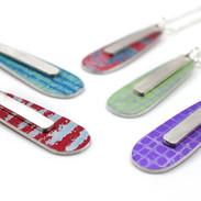 Tear drop aluminium and silver bar pendants