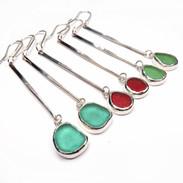 Long twist sea glass earrings