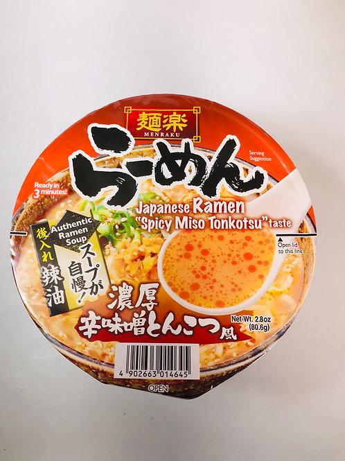Menraku Cup Ramen Spicy Miso Tonkotsu