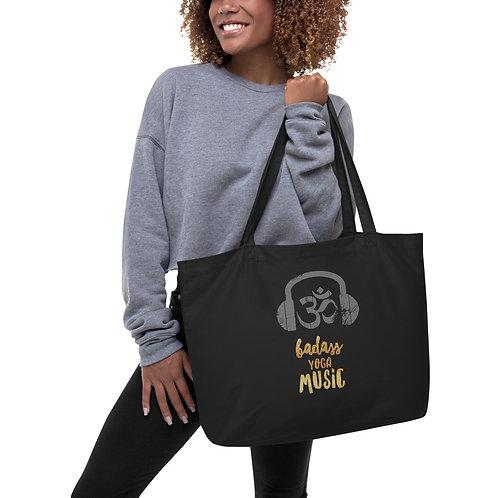 Badass Yoga Music with Logo - Large organic tote bag