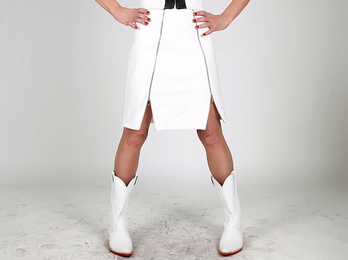 White Coffin Zip Skirt