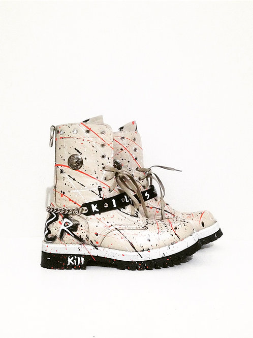 Beige Custom Boots