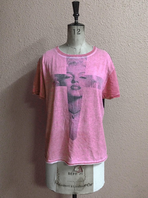 Pink Cross Tee Grey Marilyn