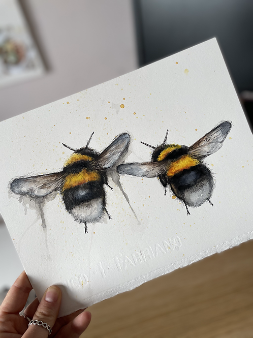 Bumble Bees Watercolour Study