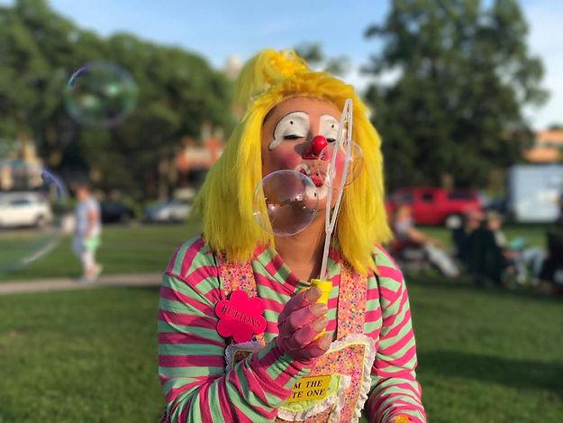 Clown blowing bubbles