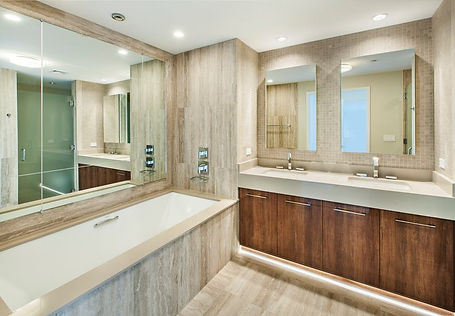 Large Format porcelain tile bathroom and counters