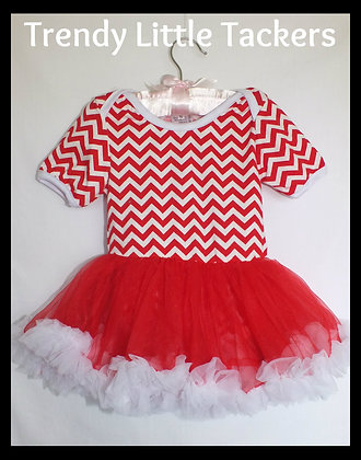 Skylar Red Chevron Tutu Romper
