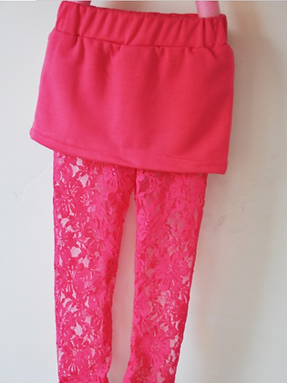 Chloe Pink Lace Leggings and Skirt