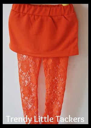 Chloe Orange Lace Leggings and Skirt