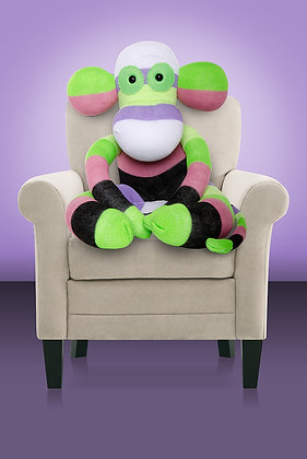 Green, White, Purple, Dusky Pink Sock Monkey Kit
