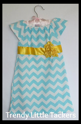 Scarlett Elizabeth Aqua Chevron Dress