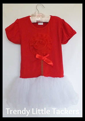 Faith Red Flower Tutu Dress