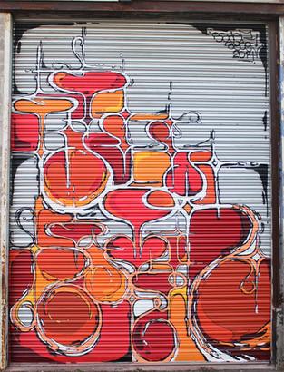 Nowhere 2014. Street Art, Graffiti,  Like-sader,  Luxembourg , urban art, arabesques, graffitisader,  spraypaint, door.