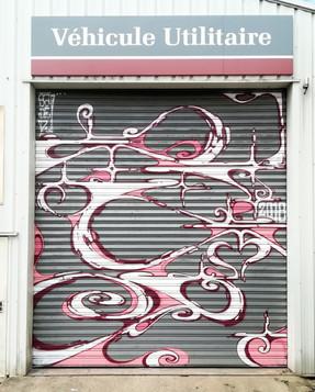 Nowhere 2018. Street Art, Graffiti,  Like-sader,  Luxembourg , urban art, arabesques, graffitisader,  spraypaint, door.