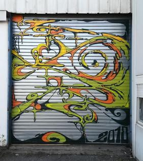 Nowhere 2018. Street Art, Graffiti,  Like-sader,  Luxembourg , urban art, arabesques, graffitisader,  spraypaint, door