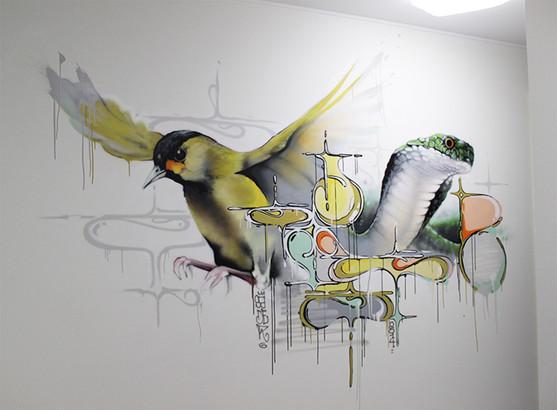 Privat home 2016. Street Art, Graffiti,  Like-sader,  Luxembourg , urban art, arabesques, graffitisader,  spraypaint, decoration, bird, snake.