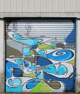 Nowhere 2017. Street Art, Graffiti,  Like-sader,  Luxembourg , urban art, arabesques, graffitisader,  spraypaint, door.