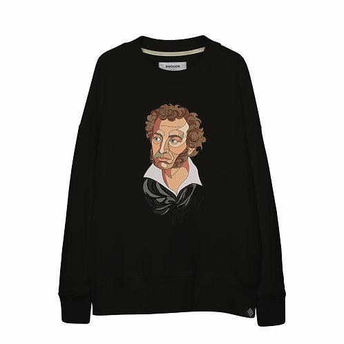 Свитшот оверсайз с вышитым портретом А.С.Пушкина