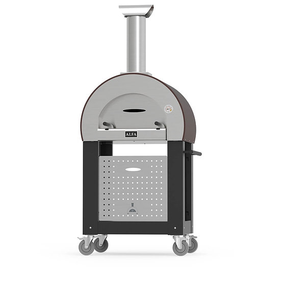 Alfa Wood-Fired Oven 5 Minuti Red with Trolley Base in Black