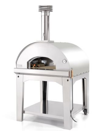 Fontana Marinara Wood Fired Oven in Stainless Steel with Trolley