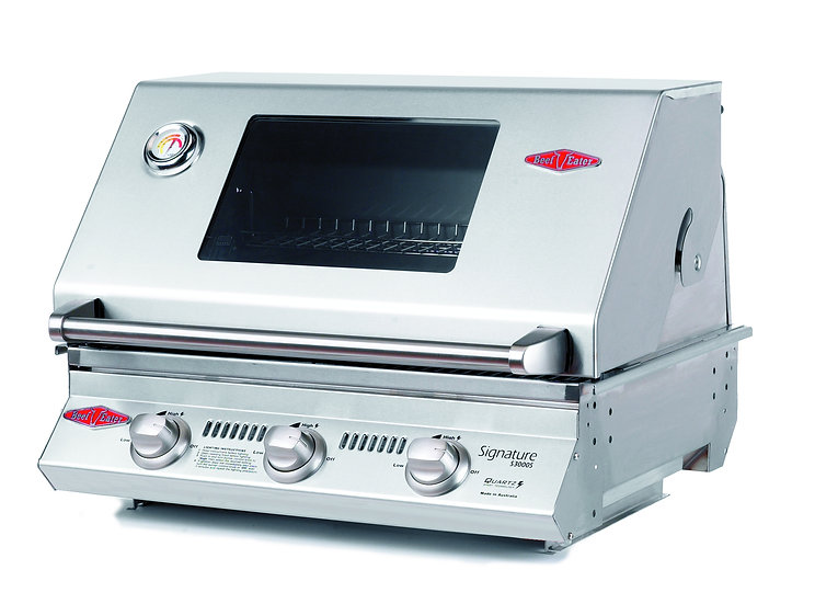BeefEater 3 Burner S3000S Built-in Gas Grill (Cast Iron Cook Pack) BS12830
