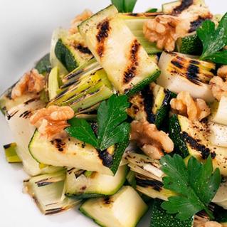 Grilled Zucchini & Leeks with Walnuts