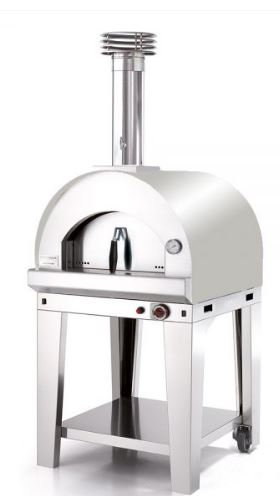 Fontana Margherita Gas Fired Oven in Stainless Steel Gas With Trolley
