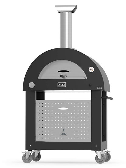 Alfa Brio Gas and Wood Fired Oven - Silver Black with Base