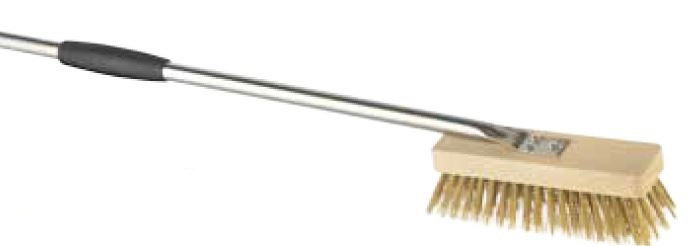 Gi. Metal 20cm Rotating Brass Bristle Brush with 120cm Stainless Steel Handle