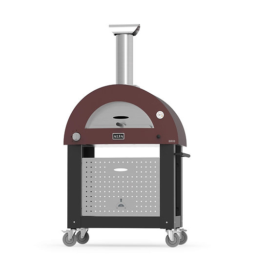 Alfa Brio Gas and Wood Fired Oven - Red with Silver Black Base