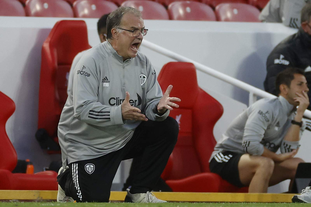 Marcelo Bielsa in his first Premier League match as manager in Leeds' loss to Liverpool (Photo courtesy of PA)